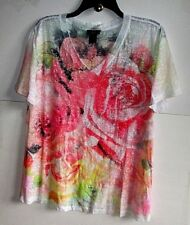 LANE BRYANT 14/16 ROSE/Ivory-R/Stones V-NECK Burn-Out KNIT TOP Poly/Cot S/S NWT