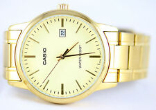 Casio Mens Gold Analog Steel Band MTP-V002G-9A Date Fashion Watch New