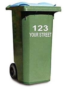 4 Wheelie  Bin Numbers vinyl stickers numer and street name various colours
