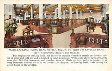 Los Angeles~Security Trust & Savings Bank Interior~Big Marble Balustrades c1914