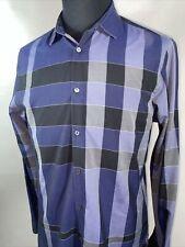 Burberry London Men's Blue Nova Check Button-Down Shirt Size XL Extra Large