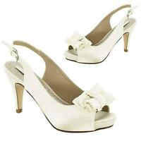 WOMENS WEDDING SHOES LADIES HEELS SATIN BRIDAL BRIDESMAID IVORY SHOES SIZE
