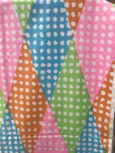 So fun! VINTAGE LOOMSKILL COTTON PRINT FABRIC Pink/Green/Blue/Tangerine 5.75 Yds