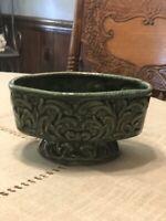 Vintage Dark Green Oval Footed Ceramic Planter Haeger??