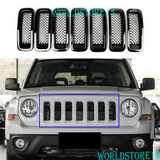 7pcs Chrome Grille Cover Insert Grill Front Mesh Trim For Jeep Patriot 2011-2017