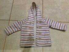Benetton Baby Fleece Style Hooded Striped Girls Jacket Coat 9-12 months Warm