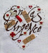 broderie point de croix  coeur  EN CAS D'URGENCE I Vautier