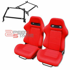 RED TYPE-R SPORT CLOTH RECLINABLE RACING BUCKET SEATS+ 92-00 CIVIC BRACKETS