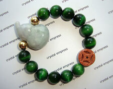 Feng Shui - Jade Wu Lou & I-Ching Coin with 12mm Green Tiger Eye