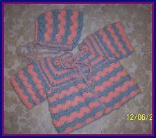 Pink-Blue Hand-Crocheted Handmade 2-Piece Baby Sweater Set 0-6 mo