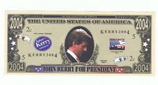 2004 John Kerry President Novelty Bill Fun Money Note Political Advertising Dems
