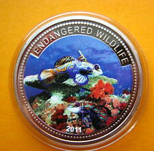 2011 Palau Large Color Proof $1 Tropical Blue Fish/Mermaid/Neptune