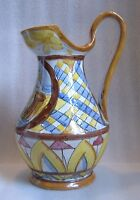 VTG ITALIAN MAJOLICA SIGNED & NUMBERED PITCHER Large WINE WATER Jug Ewer