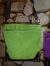 Damen Handtasche Hand Schulter Tasche echt Wild Leder blau hell grün pink - NEU
