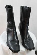 "Women's Worthington Black Leather side Zipper Mid-Calf 2.5"" Heels Boots 8.5M"