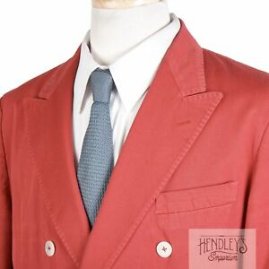 ISAIA Double Breasted Blazer 42 R Cherry Red Cotton Twill Unstructured Natural