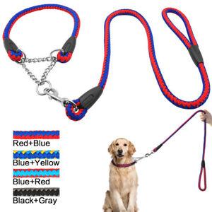 Martingale Dog Collar & Lead Nylon Half Check Choke Collars Chain Pet Training