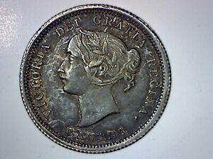 CANADA 1858   5 CENTS SILVER XF-AU