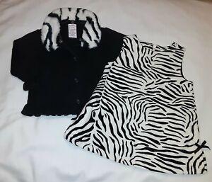Gymboree Vintage 2004 Mod Zebra Outfit Set Sweater Dress Baby Girl 3 6 12 Months