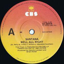 Santana ORIG OZ 45 Well all right EX '78 Latin Rock Blues rock Carlos Santana