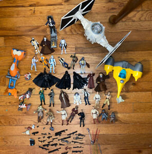 Star Wars Action Figure Lot Of 36 Figures, 44 Weapons & Accessories, 4 Vehicles