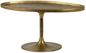 """39"""" L Clara Oval Top Coffee Table Solid Cast Aluminum Antique Brass Finish"""