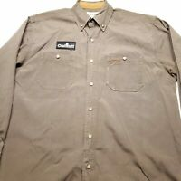 Carhartt Mens Brown Solid Button Front Collared Shirt Long Sleeve Large