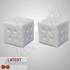 Set of 2 Cubed Footstool Ottoman Stool White Seat