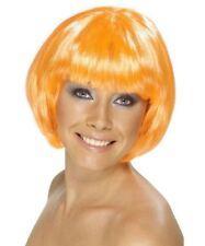 Smiffys Fire Orange Babe Short Bob Glamour Wig Synthetic 1980s Hair Piece