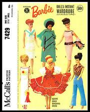 Miss Barbie Midge DOLL Wardrobe Fabric Sewing Pattern Mattel 50's McCall's #7429
