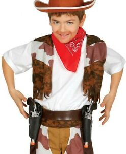 Childrens Cowboy Double Holster & Two Guns Western Kids Boys Fancy Dress