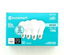 EcoSmart LED Light Bulbs 60W A19 Dimmable Daylight 5000K Damp Rated 4-pk