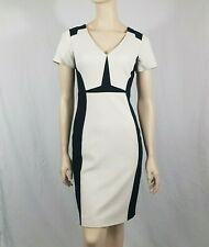 Karen Millen Black Cream Bodycon Pencil Wiggle Dress Size UK 10 V Neck Smart