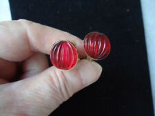 Earrings Size: ½ Inch Diameter Round Red Ribbed Pierced Hinged Back