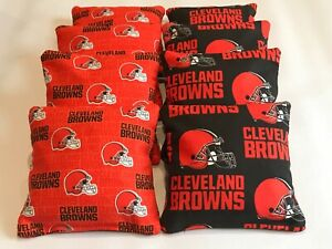 CLEVELAND BROWNS CORNHOLE BEAN BAGS SET OF 8 TOP QUALITY TOSS GAME