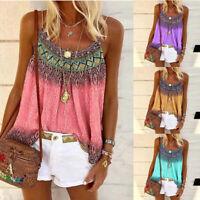 Women Loose Boho Print Sleeveless T Shirt Summer Crew Neck Casual Tops Blouse