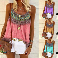 Women Loose Boho Print Sleeveless T Shirt Summer Crew Neck Casual Tops Blouse
