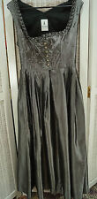 """KRÜGER Dirndl Dress UK12/EU38 36"""" Bust Shimmery Silver Tracht Kleid Oktoberfest"""