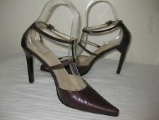 GUCCI Brown Leather Double Straps Pointy Heel Shoes Women's Size 36 C /  6