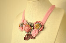 Statement Necklace Pink Silk Floral Rose Fabric Chain Upcycled Handmade Crystal