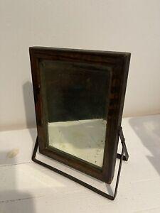 Antique Beveled Shaving Vanity Mirror Oak Table Top Stand