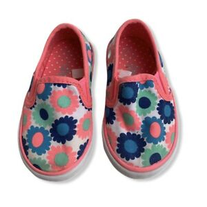 Circo Sneakers Girls Size 5 Toddler Slide On White & Orange with Floral Print