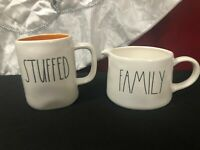 """Rae Dunn Orange Inside """"STUFFED"""" Mug & """"FAMILY"""" Gravy/Sauce Boat"""