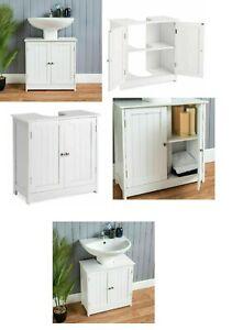 Under Sink Bathroom Cabinet | White Under Basin Storage Unit with Shelf White