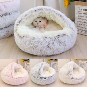 Warm Plush Pet Cat Beds Small Puppy Dog Igloo Cave Sleep Cushion for Indoor Cats