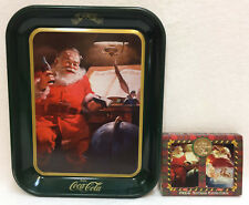 Coca Cola Tray Tin Santa Claus Drinking Coke Green Rectangle & Playing Cards Lot