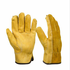 Worker Leather Gloves General Working Cowhide Strong Men Thick Long gloves Brown