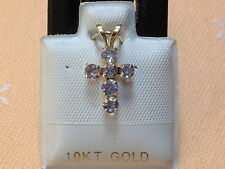 Feinstes Tansanit Kreuz - 0,53 ct. - 10 Kt. Gold - 417 - Brillant Schliff - edel