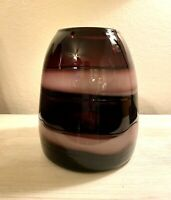 Vintage Hand Blown Art Glass Vase ~Abergine And Amethyst Large Swirl