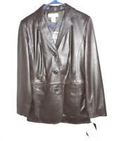 NWT Preston & York Women's Soft BrownLamb Skin Leather Jacket Coat Size Small